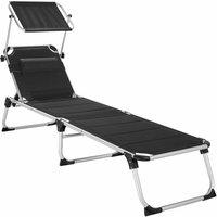 Sun lounger Lorella - garden lounger, cushioned sun lounger, garden sun lounger - black