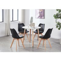 Lorenzo Halo Round Dining Table Set with 4 Chairs (WHITE and BLACK)