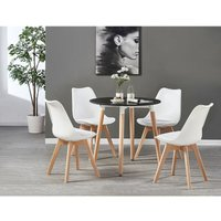 Lorenzo Halo Round Dining Table Set with 4 Chairs (WHITE and WHITE)
