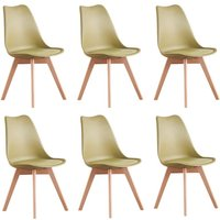 Lorenzo Retro Chair - Plastic Shell | Padded Seat | Wood Legs | Dining Chairs | Classic Design (LIME GREEN - SET OF 6)