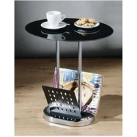 Netfurniture - Lorsey Black Glass Coffee Table With Magazine Rack