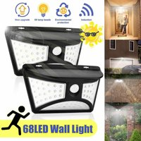 Lot 2pcs 68 LED Solar Outdoor Wall Light Motion Detector 500LM 2200mah
