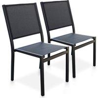 Lot de 2 chaises de jardin empilables en aluminium et textil - DCB GARDEN