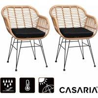 Lot de 2 chaises en osier bambou/polyrotin max. 120kg fauteuil de jardin vintage - CASARIA