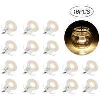 Lot of 16 Mini LED Recessed LEDs IP67 Waterproof, White, Ø 33mm, Outdoor Spot for Terrace, Kitchen Terrace Lighting, Garden, Stairs, Wooden Deck,