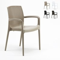 Set of 18 BOHÈME ARM Garden Dining Chair With Armrests Rattan | Cream - GRAND SOLEIL