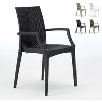 Set of 20 BISTROT ARM Garden Stackable Poly Rattan Armchair By Grand Soleil | Black