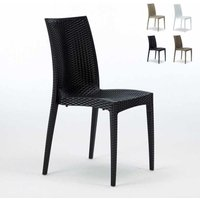 Set of 22 BISTROT Stackable Rattan Garden Indoor Chairs By Grand Soleil | Black