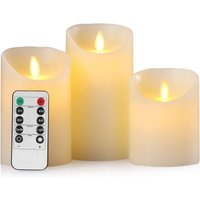 Lot of 3 Electric LED flame candles with real wax with remote control and timer 24 hours (D: 7.5 x H: 10 x 12.5 x 15 cm)
