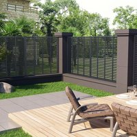 Louver Fence WPC 170x170 cm Grey - Grey