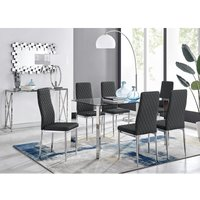 Furniturebox Uk - Lucia 6 Glass Chrome Table and 6 Black Modern Milan Chairs Set