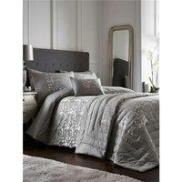 Bedmaker - Lucien Silver Super King Size Duvet Cover Set Jacquard Bedding Bed Set