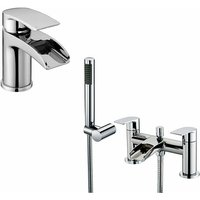 Lucy Waterfall Tap Set - Basin Mono and Bath Shower Mixer - NESHOME