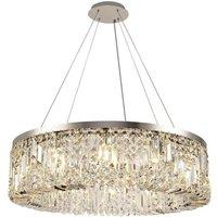 Luminosa Lighting - Cylindrical 80cm Ceiling Pendant Chandelier, 12 Light E14, Polished Chrome, Crystal