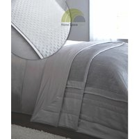 Luxe Modern Silver Quilted Throwover With Velvet Metallic Sparkle Panel - BEDMAKER