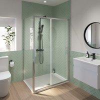 1400 x 800mm Sliding Shower Door and Side Panel Enclosure 6mm Glass Screen Framed