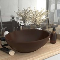 Zqyrlar - Luxury Basin Oval-shaped Matt Dark Brown 40x33 cm Ceramic - Brown