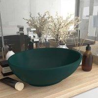 Luxury Basin Oval-shaped Matt Dark Green 40x33 cm Ceramic