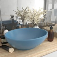 Luxury Basin Oval-shaped Matt Light Blue 40x33 cm Ceramic - Blue - Vidaxl