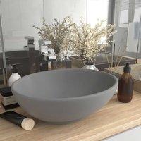 Zqyrlar - Luxury Basin Oval-shaped Matt Light Grey 40x33 cm Ceramic - Grey