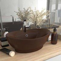 Luxury Basin Overflow Oval Matt Dark Brown 58.5x39 cm Ceramic - Brown