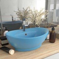 Luxury Basin Overflow Oval Matt Light Blue 58.5x39 cm Ceramic