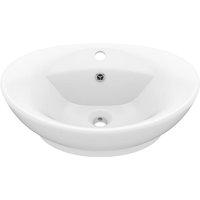 Luxury Basin Overflow Oval Matt White 58.5x39 cm Ceramic - White - Vidaxl