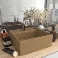 Zqyrlar - Luxury Basin Overflow Square Matt Cream 41x41 cm Ceramic - Cream