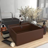 Zqyrlar - Luxury Basin Overflow Square Matt Dark Brown 41x41 cm Ceramic - Brown