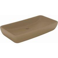 Luxury Basin Rectangular Matt Cream 71x38 cm Ceramic - Cream - Vidaxl