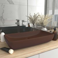 Luxury Basin Rectangular Matt Dark Brown 71x38 cm Ceramic