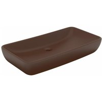 Luxury Basin Rectangular Matt Dark Brown 71x38 cm Ceramic - Brown - Vidaxl