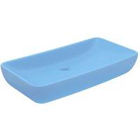 Luxury Basin Rectangular Matt Light Blue 71x38 cm Ceramic - Blue - Vidaxl