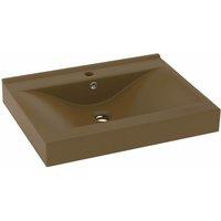 Luxury Basin with Faucet Hole Matt Cream 60x46 cm Ceramic - Cream - Vidaxl