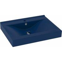 Luxury Basin with Faucet Hole Matt Dark Blue 60x46 cm Ceramic - VIDAXL