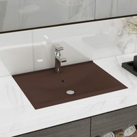 Zqyrlar - Luxury Basin with Faucet Hole Matt Dark Brown 60x46 cm Ceramic - Brown