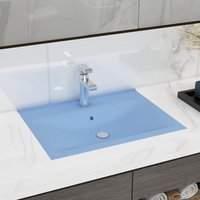 Luxury Basin with Faucet Hole Matt Light Blue 60x46 cm Ceramic - VIDAXL