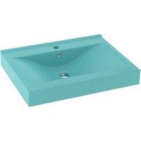 Luxury Basin with Faucet Hole Matt Light Green 60x46 cm Ceramic - Green - Vidaxl