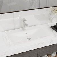 Luxury Basin with Faucet Hole Matt White 60x46 cm Ceramic
