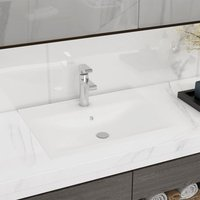 Luxury Basin with Faucet Hole Matt White 60x46 cm Ceramic - VIDAXL