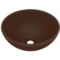 Luxury Bathroom Basin Round Matt Dark Brown 32.5x14 cm Ceramic - VIDAXL