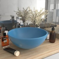 Luxury Bathroom Basin Round Matt Light Blue 32.5x14 cm Ceramic - Blue - Vidaxl