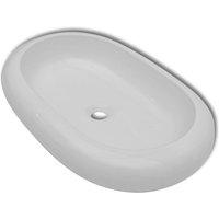 Luxury Ceramic Basin Oval-shaped Sink White 63 x 42 cm - VIDAXL
