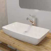 Luxury Ceramic Basin Rectangular Sink White 71 x 39 cm - VIDAXL