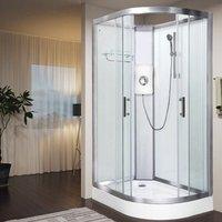 Luxury Electric Shower Cabin Vidalux Pure E LH 1200 x 800 White Enclosure 9.5kW
