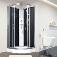 Luxury Electric Shower Cabin Pure E Quadrant 1000 Black Enclosure 9.5kW - Vidalux