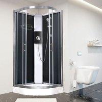 Luxury Electric Shower Cabin Pure E Quadrant 800 Black Enclosure 9.5kW - Vidalux