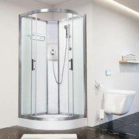 Luxury Electric Shower Cabin Vidalux Pure E Quadrant 800 White Enclosure 9.5kW