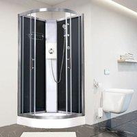 Luxury Electric Shower Cabin Pure E Quadrant 900 Black Enclosure 8.5kW - Vidalux