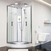Luxury Electric Shower Cabin Pure E Quadrant 900 White Enclosure 8.5kW - Vidalux